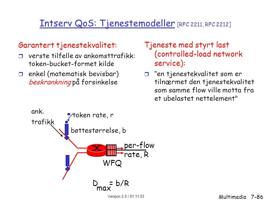 Intserv QoS: Tjenestemodeller [RFC 2211, RFC 2212]
